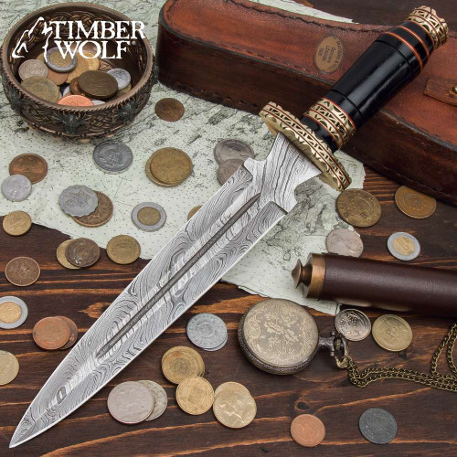 Timber Wolf Seker Dagger With Sheath - Damascus Steel