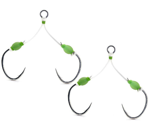 Mustad Saltwater Fishing Slow Pitch Double Jigging Assist Rig w/ Ring (Glow)