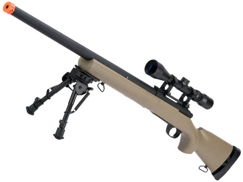 Snow Wolf US Army M24 Military Airsoft Bolt Action Scout Sniper Rifle (Color: Desert / 550 FPS)