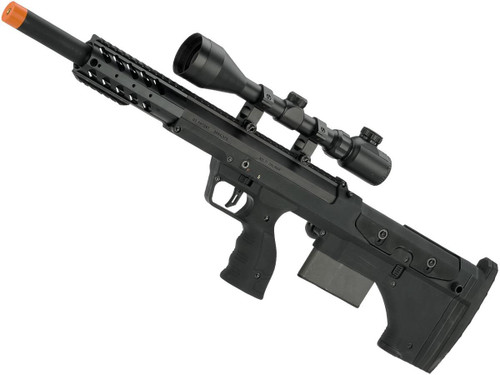 """Desert Tech SRS-A1 20"""" Sport Gen3 Pull Bolt Action Bullpup Sniper Rifle by Silverback Airsoft (Color: Black / Right-Handed)"""