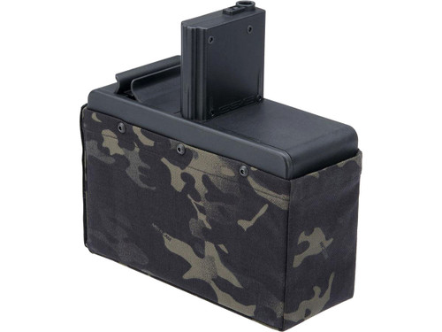 G&G 2500rd Auto Winding Drum Magazine for CM16 Airsoft AEG LMG (Color: Multicam Black / Battery Package)