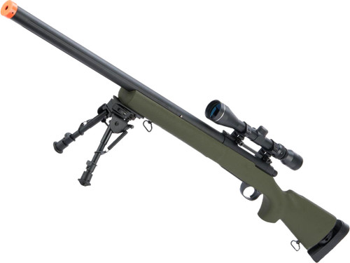 Snow Wolf US Army Style M24 Airsoft Bolt Action Scout Sniper Rifle w/ Fluted Barrel (Color: OD Green / 600FPS)