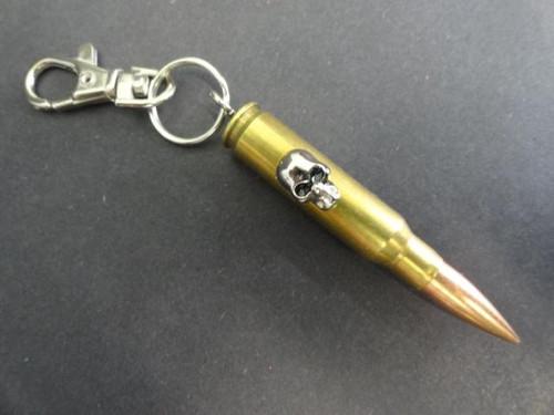 Real .308 Cal Bullet Keychain w/Skull Stud