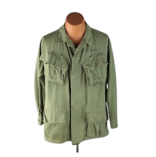 Vintage 60s Vietnam Era Field Jacket OG-107 Poplin Ripstop - Large