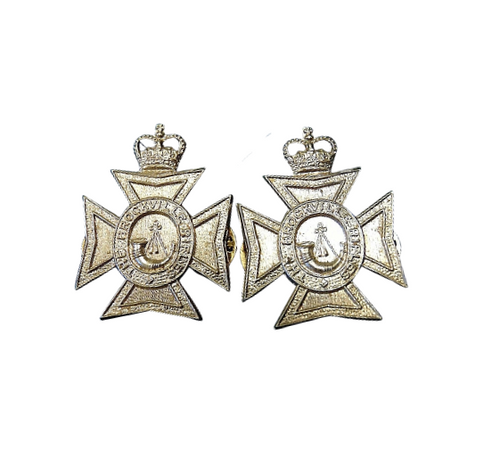 Canadian Armed Forces Brockville Rifles Queen's Crown Collar Badge (Pair)