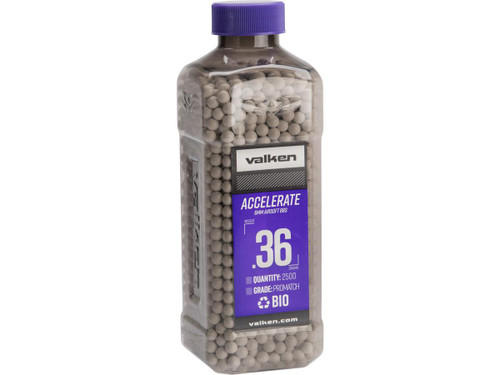 Accelerate Precision Biodegradable 6mm Airsoft BBs By Valken (Weight: 0.36g / 2500 Rounds / White)