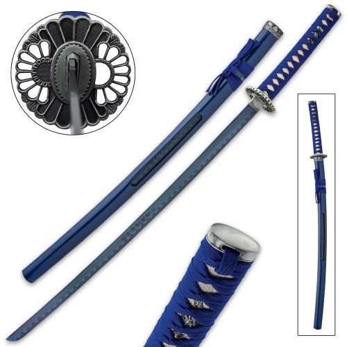 Samurai Blue Warrior Katana And Open Scabbard