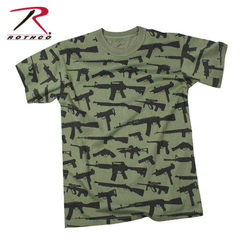 "Vintage T-Shirt Multi Print ""Guns"" - Olive Drab"