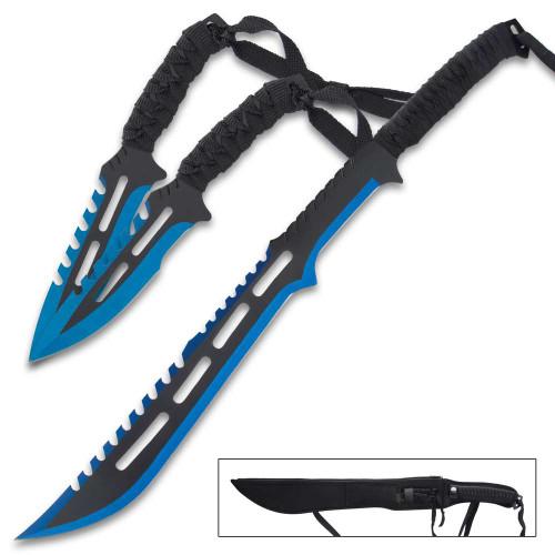 Blue Streak Short Sword And Throwing Knife Set w/Sheath
