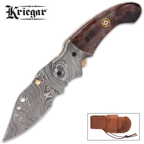 Kriegar Brownleaf Pocket Knife - Damascus
