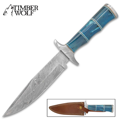 Timber Wolf Azul Hunting Knife - Damascus