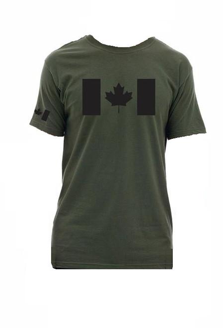T-Shirt Canadian Flag - Olive Drab