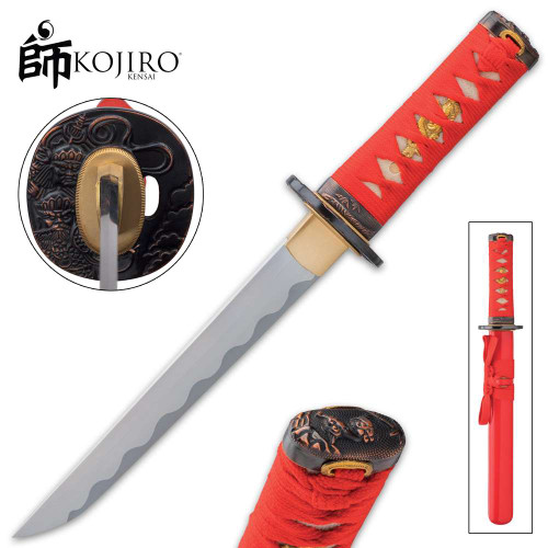 Kojiro Crimson Tanto Sword And Scabbard