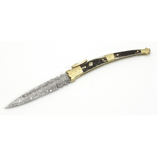"MUELA MB-9ADAM, Damascus, 3-1/2"" Folding Blade Knife, Deer Horn Handle"
