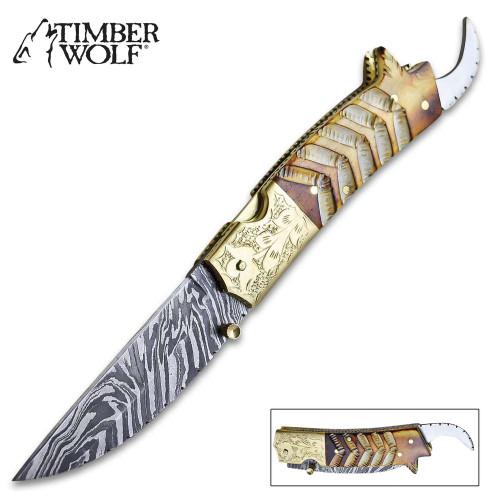 Timber Wolf Scorpion Pocket Knife - Damascus