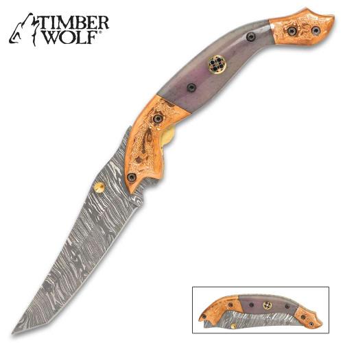 Timber Wolf Aspen Pocket Knife - Damascus