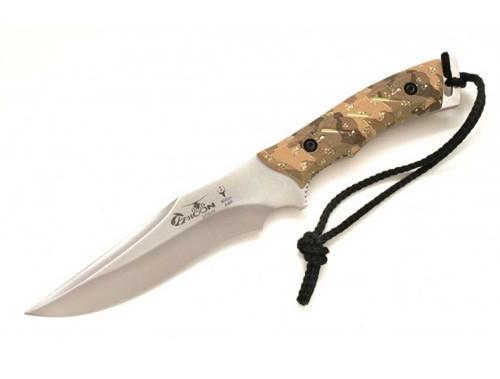 "MUELA TYPHOON-DES, X50CrMoV15, 6"" Fixed Blade Hunting Knife, Desert Camo & Digital Soft Touch Grips"