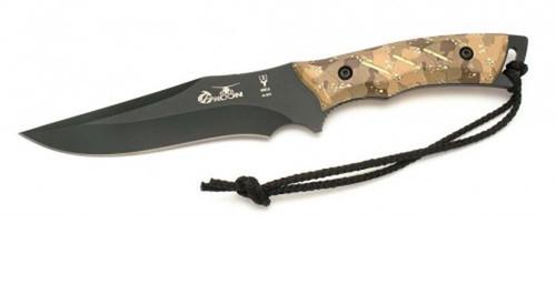 "MUELA TYPHOON-DES.N, X50CrMoV15, 6"" Fixed Blade Hunting Knife, Desert Camo & Digital Soft Touch Grips"