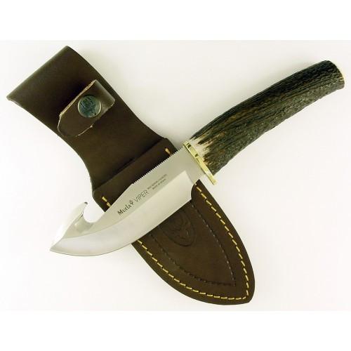 "MUELA VIPER-11A, X50CrMoV15, 4-3/8"" Fixed Blade Skinning Knife, Deer Horn Handle"