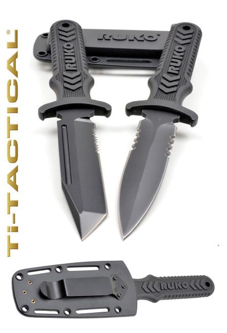 "RUKO RUK0098L, 4"" blade boot knife, 440A TiN, mod. tanto pt. 1/3 serrated, boot clip sheath, boxed"