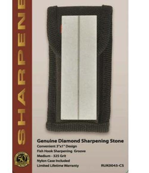 RUKO RUK0045-CS, Diamond Sharpening Stone with fish Hook Sharpening Groove, CLAMSHELL