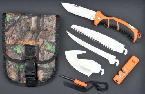 RUKO RUK0133CA, Hydra-X Outdoor Adventure Set with RUKO Load & Lock blade exchange system, WX-3D sheath, boxed