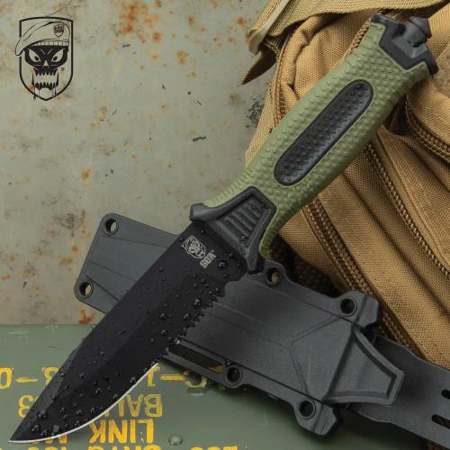 SOA Olive Drab Tactical Fixed Blade Knife And Sheath