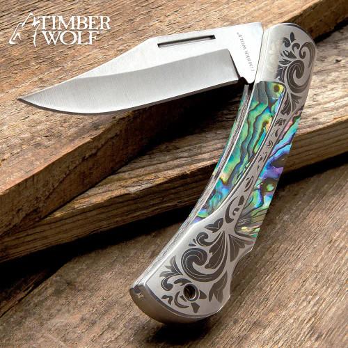 Timber Wolf Gentleman's Abalone Pocket Knife