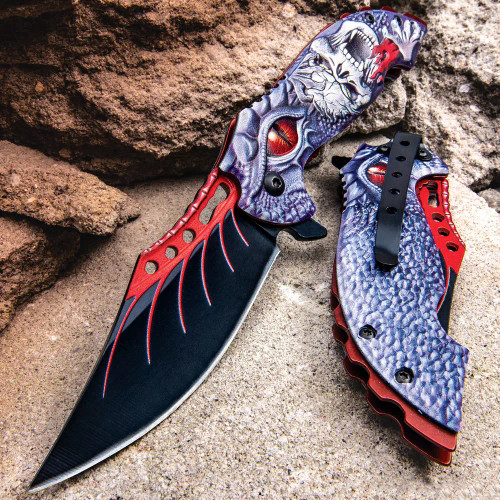Screaming Skull And Dragon Assisted Opening Pocket Knife