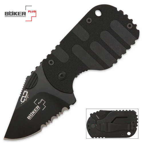Boker Subcom Black Serrated Pocket Knife