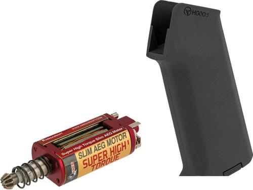 ARES Realistic Series Slim Motor Grip for M4/M16 Series Airsoft AEGs (Package: AMOEBA M4 / Black / Super High Torque Motor)