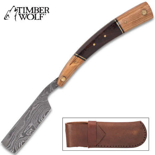 Timber Wolf Alpine Folding Razor Knife - Damascus