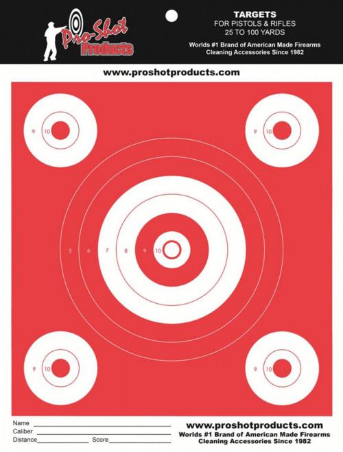 Orange Glow 5 Bullseye Target