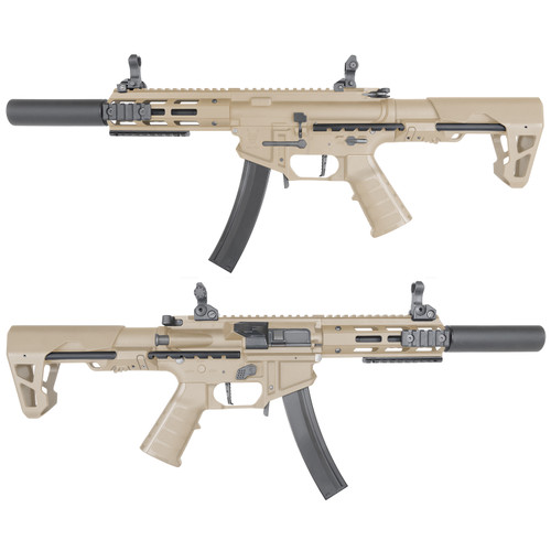 King Arms PDW 9mm SBR Airsoft AEG Rifle (Color: Dark Earth / Silenced M-LOK)