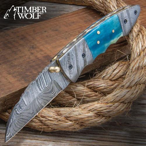 Timber Wolf Imhotep Pocket Knife - Damascus