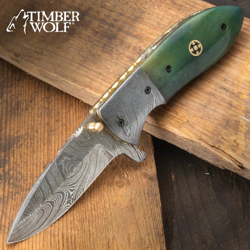 Timber Wolf Silver Dragon Marbleized Pocket Knife - Damascus