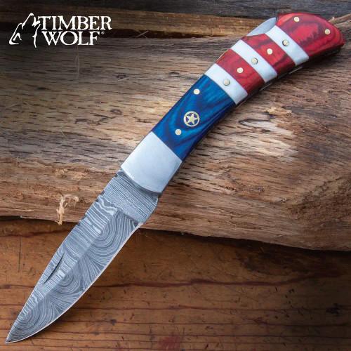 Timber Wolf USA Tribute Pocket Knife - Damascus