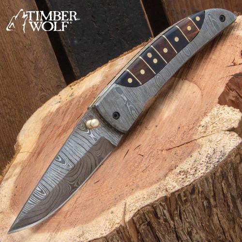Timber Wolf Antigua Pocket Knife And Sheath - Damascus