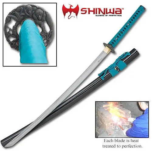 Shinwa Regal Green and Black Damascus Steel Katana Sword