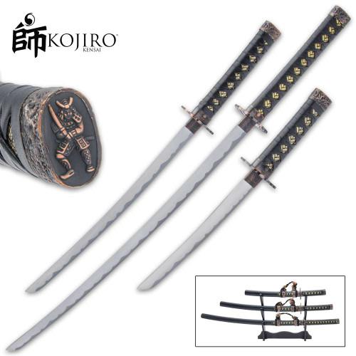 Kojiro Night Watch Three-Piece Sword Set And Display Stand