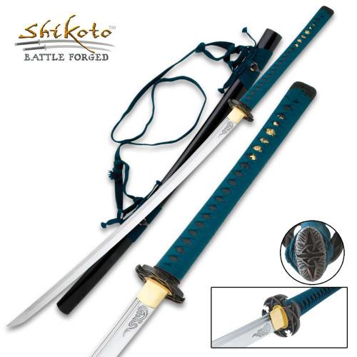 Shikoto Ao-Doragon Single Edge Forged Katana 1045 Carbon Sword