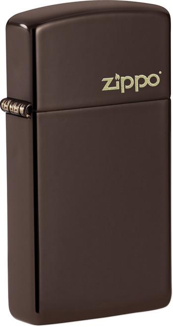 Slim Brown Zippo Logo