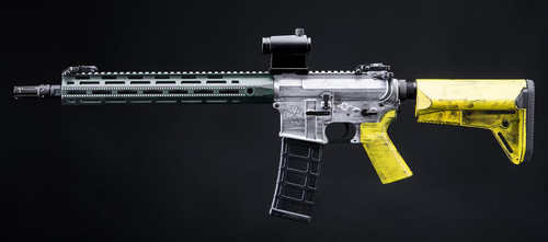 Helios Custom Cerakote Umbrella Corporation Weapons Research Group Licensed M4 M-LOK Airsoft AEG Rifle (Color: Bomber Pin Up / Carbine)