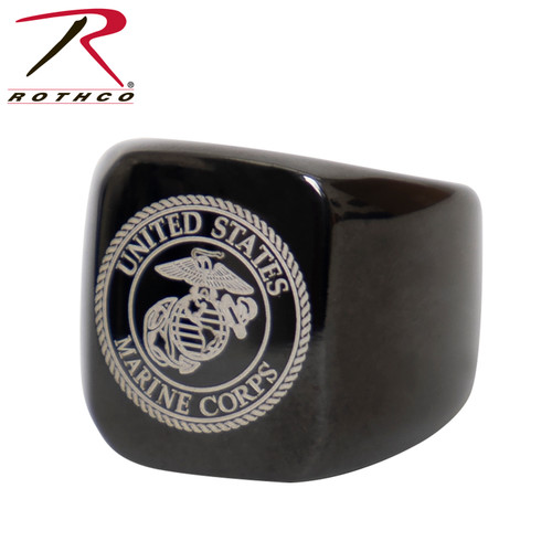 Rothco Stainless Steel USMC Eagle, Globe and Anchor Ring - Black