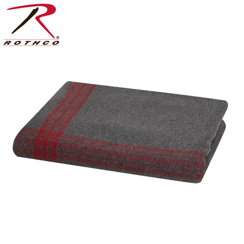 Rothco Striped Wool Blanket - Grey/Red