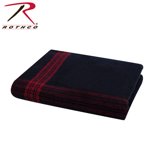 Rothco Striped Wool Blanket - Navy Blue/Red