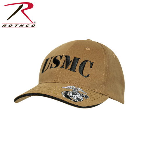Deluxe Vintage USMC Embroidered Low Pro Cap - Coyote Brown