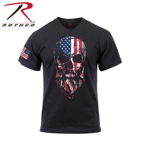 Rothco US Flag Bearded Skull T-Shirt - Black