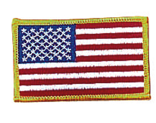 Iron On/Sew On Embroidered US Flag Patch  - Yellow Border
