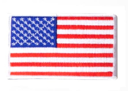 Iron On/Sew On Embroidered US Flag Patch - White Border